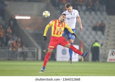 KRAKOW, POLAND - MARCH 30, 2019: Polish Premier Football League Korona Kielce - Lech Poznan o/p Rafal Janicki, Felicio Brown Forbes