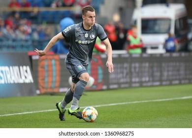 KRAKOW, POLAND - MARCH 31, 2019: Polish Premier Football League Wisla Krakow - Legia Warszawa o/p Pawel Stolarski