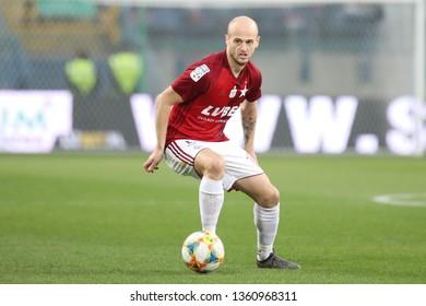 KRAKOW, POLAND - MARCH 31, 2019: Polish Premier Football League Wisla Krakow - Legia Warszawa o/p Vullnet Basha