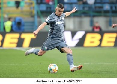 KRAKOW, POLAND - MARCH 31, 2019: Polish Premier Football League Wisla Krakow - Legia Warszawa o/p Carlitos Lopez