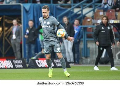 KRAKOW, POLAND - MARCH 31, 2019: Polish Premier Football League Wisla Krakow - Legia Warszawa o/p Marko Vesovic