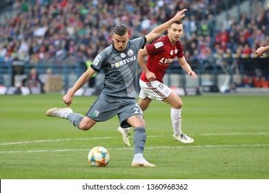 KRAKOW, POLAND - MARCH 31, 2019: Polish Premier Football League Wisla Krakow - Legia Warszawa o/p Carlitos Lopez, Maciej Sadlok