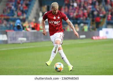 KRAKOW, POLAND - MARCH 31, 2019: Polish Premier Football League Wisla Krakow - Legia Warszawa o/p Rafal Pietrzak
