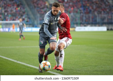 KRAKOW, POLAND - MARCH 31, 2019: Polish Premier Football League Wisla Krakow - Legia Warszawa o/p Iuri Medeiros