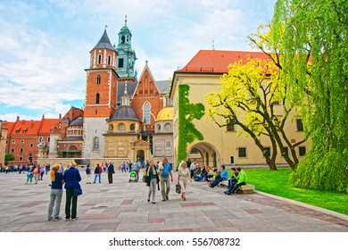 Krakow, Poland - May 1, 2014: People at Wawel Cathedral on the hill, Krakow, Poland.