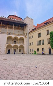 Krakow, Poland - May 1, 2014: People at inner courtyard of Wawel Castle in Krakow, Poland