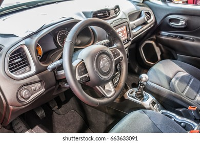 Krakow, Poland, May 20, 2017, Moto Show, International Car Fair: Jeep Renegade Limited- off-road auto, cocpit view
