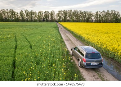 Krakow, Poland - May 25, 2018: Aerial view of car driving by straight ground road through green fields with blooming rapeseed plants on sunny day. Drone photography.