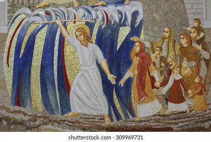 KRAKOW, POLAND - MAY 31, 2015: Cracow , Lagiewniki - The centre of Pope John Paul II. Mosaics on the church wall with biblical scenes