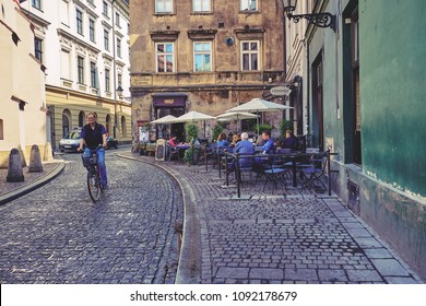 KRAKOW, POLAND - MAY 8, 2018: Restaurant on the streets of the old city
