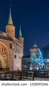 Krakow, Poland, medieval barbican (Barbakan) and Florianska gate in the night