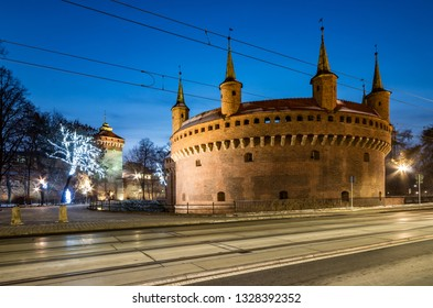 Krakow, Poland, medieval barbican (Barbakan) in the night