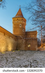 Krakow, Poland, medieval Stolarska tower and city arsenal in the night