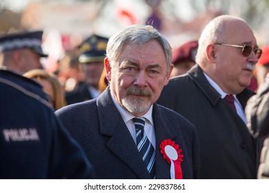KRAKOW, POLAND - NOV 11, 2014: Prof. Jacek Majchrowski is Mayor of the Royal Capital City of Krakow since 2002, during the celebration of National Independence Day an Republic of Poland.