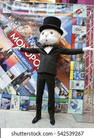 KRAKOW, POLAND - NOVEMBER 07, 2015: First run Monopoly Edition Cracow Krakow at shopping center Bonarka City Center o/p Mister Monopoly