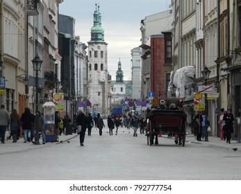 Krakow, Poland - November, 08, 2012: street of Krakow and St. Andrew's church