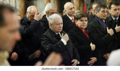 Krakow, POLAND - NOVEMBER 11, 2015: Jaroslaw Kaczynski, the leader of the conservative Law and Beata Szydlo, designated prime minister, Poland