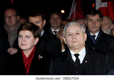 Krakow, POLAND - NOVEMBER 11, 2015: Jaroslaw Kaczynski, the leader of the conservative Law and Beata Szydlo, designated prime minister, Poland