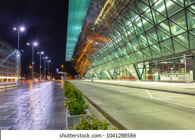 Krakow, Poland - November 11, 2017: John Paul II International Airport in Krakow Balice, Poland.