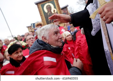 KRAKOW, POLAND - NOVEMBER 19, 2016 : Celebrations on the occasion of the Act acceptance of Jesus Christ as King and Lord. Members of the movement of the Militia of Christ the King