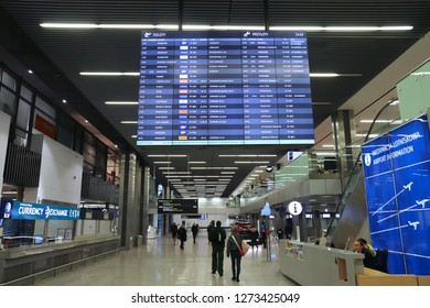KRAKOW, POLAND - NOVEMBER 21, 2018: Passengers visit Krakow Airport in Poland. It is the second busiest airport in Poland with 5.8 million passengers (2017).