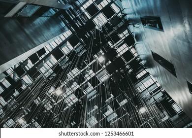 KRAKOW, POLAND - NOVEMBER 25, 2018: Krakow Technology Park. Modern hall interior design