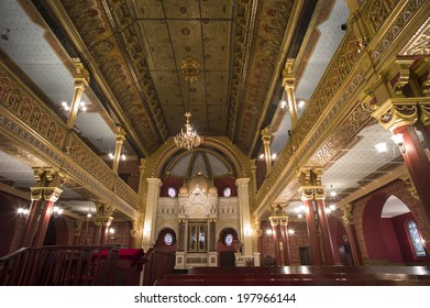 KRAKOW, POLAND - OCT 29: Old Jewish synagogue hall in the heart of Kazimierz near old town of Krakow, Poland on October 29, 2013.
