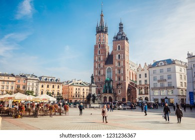 Krakow, Poland - October 10, 2018: St. Mary's Basilica (Church of Our Lady Assumed into Heaven) in Krakow, Poland