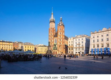 Krakow, Poland - October 10, 2018: St. Mary's Basilica (Church of Our Lady Assumed into Heaven) in Krakow, Poland