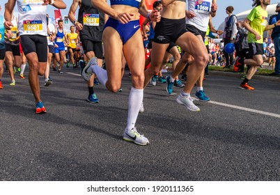 KRAKOW, POLAND - OCTOBER 14, 2018: Runners of the 5th PZU Cracovia Royal Half Marathon.