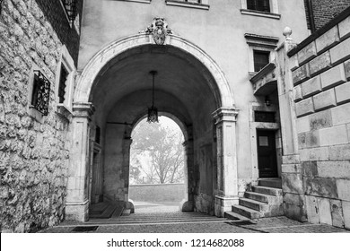 KRAKOW, POLAND - OCTOBER 18, 2018: General view of Wawel Castle in misty morning. Residency located in central Kraków, Poland. For centuries residence of kings and the symbol of Polish statehood.