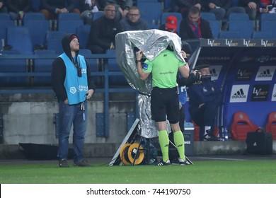 KRAKOW, POLAND - OCTOBER 22, 2017: Polish Premier Football League Wisla Krakow - Legia Warszawa o/p Bartosz Frankowski VAR