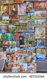 Krakow, Poland - October 29, 2015: Outdoor gallery nearly the city walls of Krakow