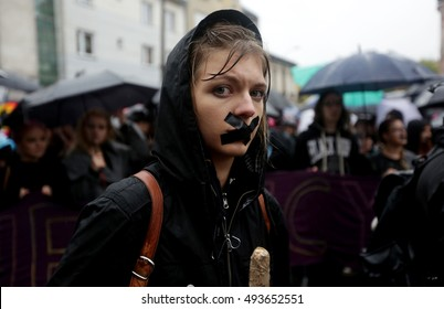 KRAKOW, POLAND - OCTOBER 3, 2016 : Polish women take part in a nationwide strike and demonstration to protest against a legislative proposal for a total ban of abortion in Krakow,Poland