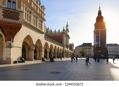 KRAKOW, POLAND - OCTOBER 31, 2018: People walking on Main Market Square (Rynek Glowny) in Krakow, Poland