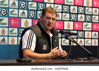 KRAKOW, POLAND - OCTOBER 6: Jan Urban, coach of Legia Warsaw, at a press conference after the football match between Wisla Krakow and Legia Warsaw, 1:1 on October 6, 2013 in Krakow, Poland.