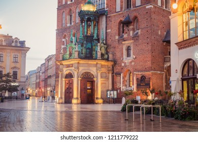 Krakow, Poland - October 8, 2018: Closeup of St. Mary's Basilica (Church of Our Lady Assumed into Heaven) in Krakow, Poland at night