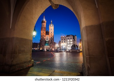 Krakow, Poland - October 8, 2018: St. Mary's Basilica (Church of Our Lady Assumed into Heaven) in Krakow, Poland at night
