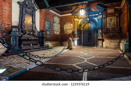 Krakow, Poland - October 8, 2018:Closeup of St. Mary's Basilica (Church of Our Lady Assumed into Heaven) in Krakow, Poland at night