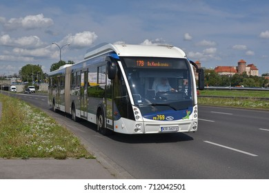 Krakow, Poland - September, 08, 2017: Solaris Urbino 18 MetroStyle articulated bus on street of Krakow.