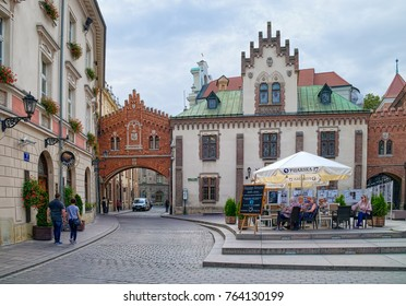 KRAKOW, POLAND - SEPTEMBER 11, 2017: Overall view of Czartoryski Museum and Library, founded in 1796 and located in Old Town of Krakow since 1876.