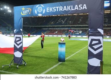 KRAKOW, POLAND - SEPTEMBER 16, 2017: Polish Premier Football League Wisla Krakow - Piast Gliwice o/p logo Ekstraklasa