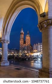 Krakow, Poland, St Mary's church seen from Sukiennice (Cloth hall) attic on the Main Market Square