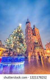 Krakow, Poland, St Mary's church and christmas tree on the Main Square