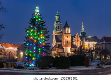Krakow, Poland, Wawel cathedral and Christmas tree, winter night