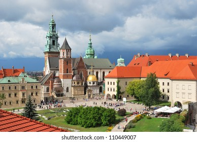 Krakow, Poland. Wawel Cathedral on the background of the stormy sky