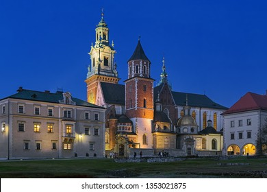 Krakow, Poland. Wawel Cathedral or The Royal Archcathedral Basilica of Saints Stanislaus and Wenceslaus on Wawel Hill in twilight. It is the coronation site and burial place of the Polish monarchs.
