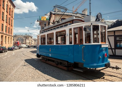 KRAKOW, POLAND-MAY 26, 2018: A historic tramway in the royal city of Krakow