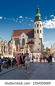 KRAKOW, POLAND-MAY 30, 2018: Krakow is the second largest and one of the oldest cities in Poland. Situated on the Vistula River in the Lesser Poland region, the city dates back to the 7th century.