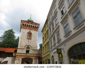 Krakow / Republic of Poland - 07 11 2017: view of the Florentine Gate from the side Florentine Street
